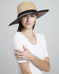 colorblock straw sun hat by kate spade new york at Neiman Marcus.