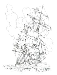 DoodleNation Giant Colouring In Poster - Seven. Pirate Ship Drawing, Boat Drawing, Pirate Ship Tattoos, Pirate Tattoo, Pencil Art Drawings, Tattoo Drawings, Art Sketches, Pirate Art, Pirate Crafts