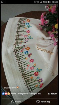This Pin was discovered by Şen Towel Embroidery, Silk Ribbon Embroidery, Hand Embroidery Patterns, Embroidery Applique, Cross Stitch Embroidery, Cross Stitch Borders, Cross Stitch Samplers, Cross Stitch Flowers, Cross Stitching
