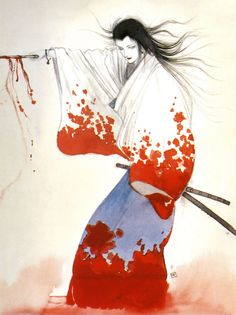ARTIST: Yoshitaka Amano (天野 喜孝)  via: #Yellowmenace    #JapaneseContemporaryArt #LadySnowblood http://yellowmenace.tumblr.com/tagged/Japanese%20art