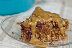 Rustic Chocolate Chip Banana Oat Cake with PB Banana Glaze by Oh She Glows