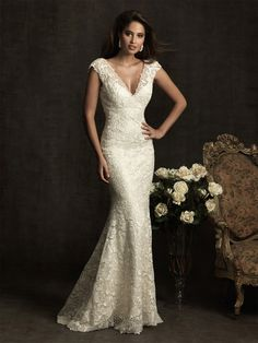 Slida/Kolumn Kort Ärm Lace V-Ringad Sweep Släp Wedding Dresses