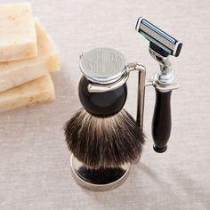 Men's Monogram Shaving Set - Badger Hair Brush and Razor Set