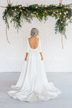 Long Sleeve Wedding Dress Modern Simple Long Sleeve A-Line Satin Wedding Dress With Open Back Wedding Dresses For Sale, Wedding Gowns, Lace Wedding, Dream Wedding, Mermaid Wedding, Elegant Wedding, Trendy Wedding, Wedding Ideas, Lace Mermaid