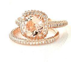 Rose Gold and Peach Wedding Ring Set - Etsy:  RareEarth... LOVE IT!!!!
