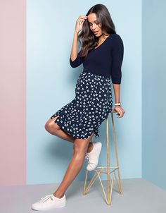 Ultra-flattering & easy to wear, Seraphine's Navy Floral Mock Sweater Maternity & Nursing Dress is a stylish option before, during & after pregnancy. Maternity Nursing Dress, Cute Maternity Outfits, Stylish Maternity, Pregnancy Outfits, Maternity Wear, Maternity Skirts, Early Pregnancy, Maternity Clothes Spring, Maternity Fashion Dresses