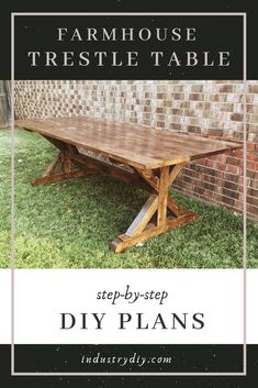 For the woodworker who has always wanted to build their own Farmhouse Trestle Table here is a complete step by step DIY guide and plans to do it! Included is the cut list tools needed and photos of each step to guide you through the building process! Trestle Table Plans, Trestle Dining Tables, Bench Plans, Seating Plans, Farmhouse Table Centerpieces, Diy Dining Table, Farm Table Diy, Farm Table Plans, Build A Table