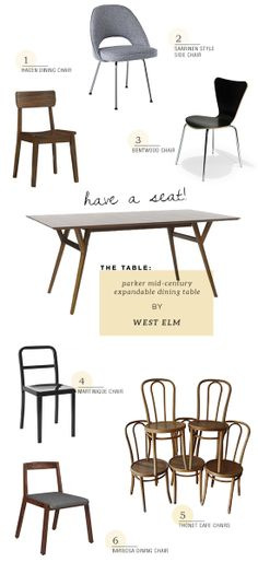 Shop dining chairs for a mid century dining table. Picks by myparadissi.com