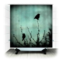 On Top of the World - Fabric Shower Curtain  - Photography, bathroom, home, decor, bathtub, nature, birds, woods, forest, blue, silhouette