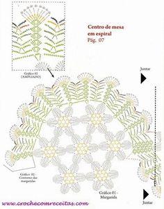 Centro de mesa em crochê espiral florido - CROCHE COM RECEITAS