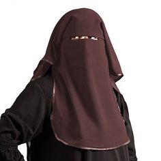 Satin Niqab - Dreilagig - DUNKELBRAUN - Islamische Kleidung - 11-2003
