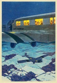 1930 Print Deutsche Lufthansa Airplane German Airline Germany Deutschland Plane -