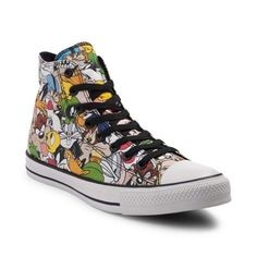 Complete your classic look with the iconic style of the new Chuck Taylor All Star Hi Looney Tunes Sneaker from Converse! These crazy-cool Looney Tunes Chucks sport a high-top design, constructed with a soft canvas upper with allover graphics of your favorite Looney Tunes characters, and signature Chuck Taylor logo patch.
