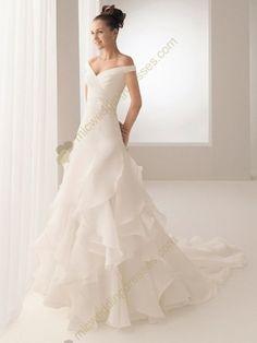 White A Line Off the Shoulder Floor Length Beading Satin Ruffles Wedding Dress