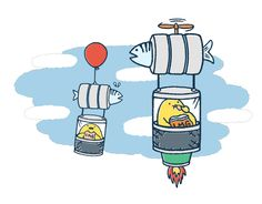 気球のような何かに乗るゆるいひよこ