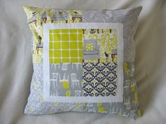 Grey and yellow patchwork pillow by NeedleAndSpatula, via Flickr