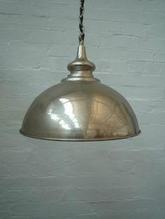 Retro Vintage Metal Industrial Chrome Pendant Ceiling Light Shade | eBay