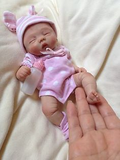 Precious OOAK polymer clay baby girl, Art Doll, 8.5'' approx.
