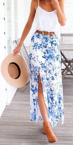 Blue floral maxi skirt