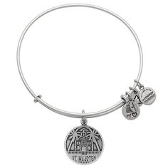 St. Maarten Charm Bangle | Alex and Ani  St. Maarten Charm Bangle Historical • Natural • Harmonious $28.00  An island harmoniously shared between two nations, France and the Netherlands, St. Maarten is the epitome of peaceful living. Showcasing one of the island's icons, the courthouse surrounded by palm trees, this charm is reminiscent of the culture's vast history and natural beauty. Show your appreciation for all this island has to offerwith the St. Maarten Charm.