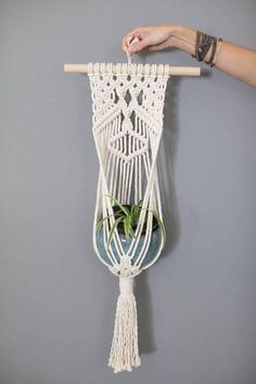 Hangs on a 12 inch dowel approximately 30 inches from hanger to fringe 5 inch pots or glass bowls will fit perfectly Can be used to hang plants, succulents, LED candles or mason jar with fresh cut flowers Easy to decorate your home, wedding or outdoor space using this piece Please