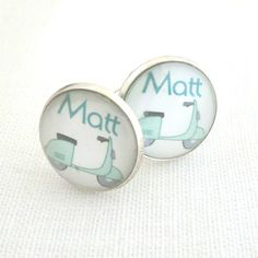 Personalized Cuff Links Glass Moped Scooter by Careish on Etsy, £15.00