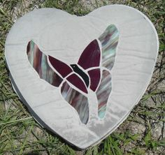 "STEPPING STONE Made With Cement and Real Stained Glass 10"" Heart shaped 2"" Thick"