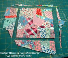 Vintage Windows Crazy Block Tutorial~ I think traditional crazy quilts are made on a foundation fabric. I tried that method found it restrictive. First, I'll say I'm not an expert. I just experimented one day this is what I came up with what I learned. Patchwork Quilting, Rag Quilt, Scrappy Quilts, Crazy Quilting, Modern Quilting, Doll Quilt, Crazy Block, Crazy Quilt Blocks, Quilt Block Patterns