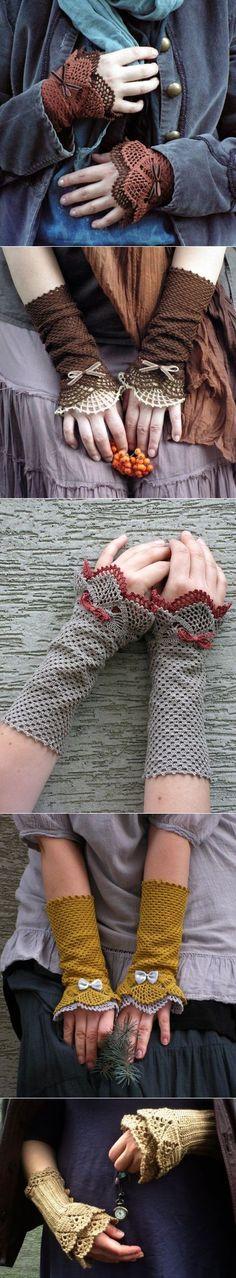 Утонченные и романтичные митенки крючком. Вяжутся очень просто, особая прелесть в маленьких бантиках :))))