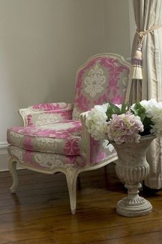 pink damask accent chair