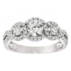 <3 <3 Three Stone Halo Pave Set Diamond Engagement Ring #wedding #jewelry