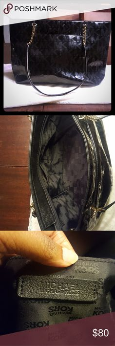 Michael Kors Tote Black Patent Tote I'm going to be honest here, I love this thing.  Big enough to fit my 13 inch laptop (with zipper open)  It's water resistant and wipes clean! Perfect for trips, college students, the office.  Did I mention it wipes clean!  Perfect low maintenance bag!  I am an avid bag collector and am currently cleaning house  Don't miss out!!!! *This bag is used with very minimal wear   About 9.5 inches high and 14 inches wide  P.S. I took a guess at the original price…