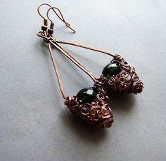 Bohemian Dangle Earrings Rustic Green Elvish Drop by KicaBijoux