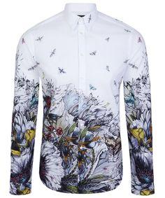 White Toxic Bird Print Shirt, Alexander McQueen Men's. Shop more shirts from the Alexander McQueen Men's shirts online at Liberty.co.uk