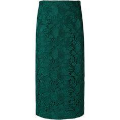 Nº21 straight midi skirt (5.800 DKK) ❤ liked on Polyvore featuring skirts, green, green midi skirt, straight skirt, mid-calf skirts, midi skirt and green skirt