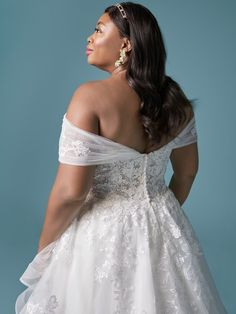 An exquisite off-the-shoulder princess bridal gown for the modern bride designed by Maggie Sottero. Find your one-of-a-kind wedding dress today! Lace Mermaid Wedding Dress, Dream Wedding Dresses, One Shoulder Wedding Dress, Lace Dress, Lace Bodice, Wedding Outfits, Plus Size Brides, Plus Size Wedding, Beaded Chiffon