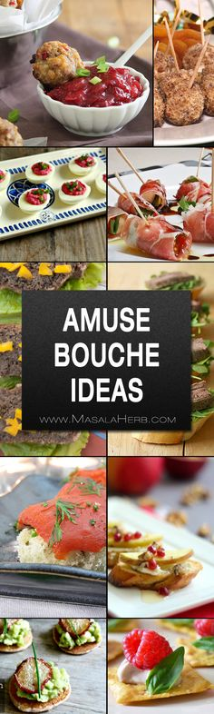 Amuse Bouche Ideas - Bite Sized Hors d'Oeuvres Recipes - delicious collection of bite sized party appetizers with veg and non-veg suggestions and colorful eye catching canapés www.MasalaHerb.com #appetizer #bitesized #partyfood #masalaherb