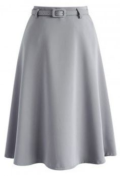 Savvy Basic Belted A-line Skirt in Grey - Bottoms - Retro, Indie and Unique Fashion