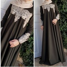 No photo description available. Moslem Fashion, Niqab Fashion, Fashion Dresses, Muslim Dress, Hijab Dress, Modele Hijab, Arabic Dress, Hijab Style, Outfit Look