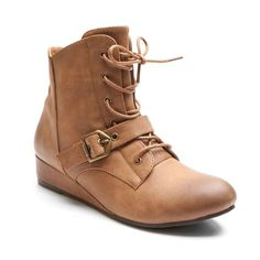 Kisses by 2 Lips Too Too Scope Women's Wedge Ankle Boots, Girl's, Size: medium (7), Lt Brown