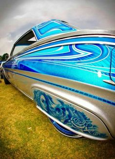 1962 Impala+Low ri-der, goes a little slower. Car Paint Jobs, Custom Paint Jobs, Custom Cars, Chevrolet Impala, Candy Paint, Airbrush Art, Pinstriping, Car Painting, My Ride