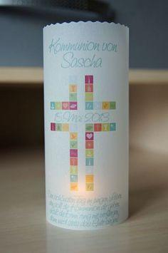 Dekoration - ♥ Lichthülle Kommunion Tischdeko Windlicht - ein Designerstück von…