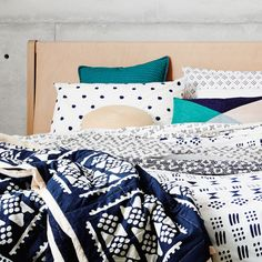 Navy and Nude Graphic Tribal Quilted Bedcover