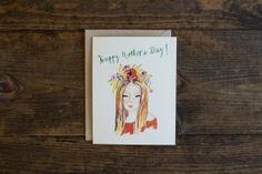 Mother's day card  mom with flower crown  by StationeryBakery, $4.00