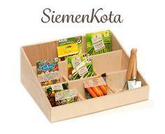 Kotipuutarhureille kätevä lokerikko siementen ja pientyökalujen säilytykseen. www.ahoDesign.fi - Tuotteet