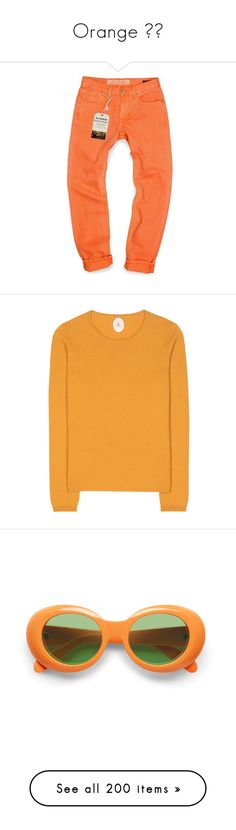 """""""Orange ☀️"""" by abbybencsik ❤ liked on Polyvore featuring jeans, neon orange, distressed jeans, neon jeans, bleached distressed jeans, destroyed jeans, red jeans, tops, sweaters and knitwear"""