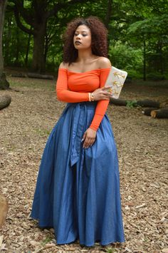Gracia light weight denim skirt. Clutch by Shiraleah (rhea zip pochette)  CropTop by Ekineyo #artnouveau#1105NostrandAveBrooklyn#9176489407