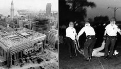 """UPI Telephoto, June 20, 1967. Boston's new City Hall in foreground begins to take shape as viewed from JFK Federal building. Custom House tower in background stands as a reminder of """"Old Boston"""" amidst heavy construction of """"New Boston"""". Images of Boston City Hall Library Tag 02122012 Ideas"""