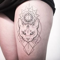 awesome Geometric Tattoo - Chat tatouage... Check more at https://tattooviral.com/tattoo-designs/geometric-designs/geometric-tattoo-chat-tatouage/