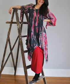 Another great find on #zulily! Red Drama Global Groove Cape-Sleeve Tunic - Women & Plus by Yes World Boutique #zulilyfinds